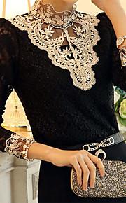 kvinders vintage stå krave blonder splejsning perler fleece bluse, langærmet plus size