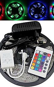 5M 150X5050 Smd RGB LED stripe lys og 24Key Remote Controller og AC110-240V til Dc12V3A Trafo
