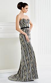 TS кутюр формальное вечернее платье - черное-Line Милая развертки / щетка поезд блестками