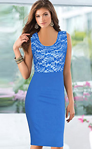 kvinders blonder splejsning ærmeløs bodycon plus size kjole