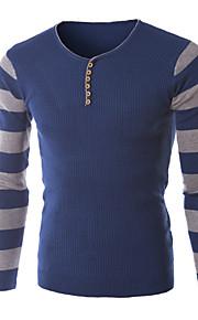 Мужской Обычный На каждый день / Для офиса / Для занятий спортом Мужской Пуловер Однотонный , Длинный рукав , Хлопок / Полиэстер
