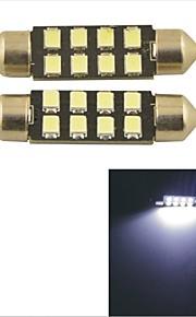 2pcs carking ™ festone 36 millimetri / 39 millimetri 0.84w 8 * 2835smd 80ml 6000k luce bianca ha portato la lampada Roma (cc 12v)