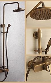 mur en laiton antique monté mitigeur pluie robinet de douche réglé avec pomme de douche 8 pouces et douche à main