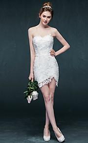 Robe de Mariage - Blanc Fourreau Col en Cœur Court/Mini Court/Mini