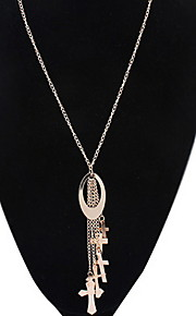 Women's Europe And The United States Tassel Cross Alloy Necklace Sweater Chain