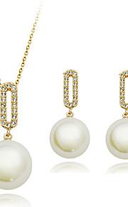 Conjunto de jóias Imitação de Pérola/Zircônia Cubica Liga Mulheres