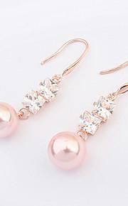 Women's European Style Fashion Zircon Alloy Drop Earrings With Imitation Pearl