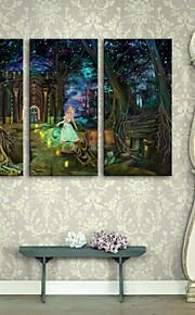 e-FOYER étiré conduit art toile d'impression de la nuit de la jeune fille dans la forêt conduit clignotant ensemble de 3 d'impression de