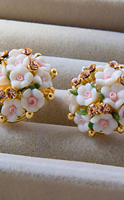 Korean Polymer Clay With Rhinestone Flower Style Earring H0255HD