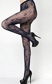 Women's 3 Leaf Clovers Curly Vines Fashion Fishnet Pantyhose Tights