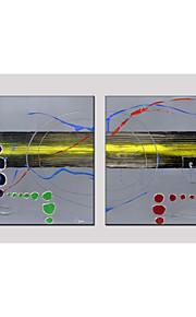 olieverfschilderij set van 2 abstracte stijl, canvas materiaal met gestrekte frame klaar om op te hangen grootte: 70 * 70cm * 2 stuks.