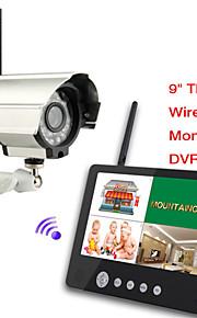 Bebé 2.4g digital de cámaras inalámbricas de audio y vídeo de 9 pulgadas supervisa el sistema de seguridad dvr quad de 4 canales con IR