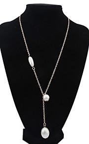 Women's European Style Fashion Simple Oval Pendant Alloy Necklace