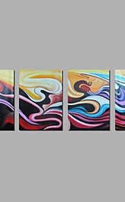 met de hand geschilderd olieverf op doek kunst aan de muur abstracte hedendaagse kleur vier panel klaar te hangen