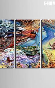 e-FOYER toile tendue art abstrait femme modèle de couleur de peinture décoration ensemble de 3
