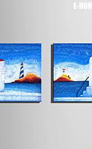 e-Home® sträckta canvas konst hus på ön dekorativt måleri set om 2