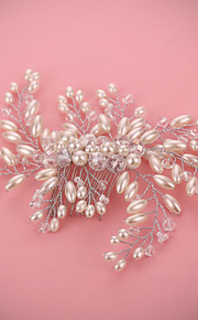 Bride's Luxury Pearl Rhinestone Crystal Hair Comb Wedding Hair Jewelry Accessories 1 PC