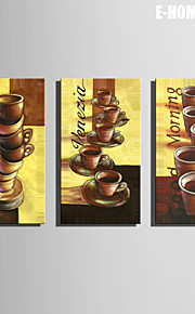 E-HOME® Stretched Canvas Art A Row of Coffee Cups Decoration Painting  Set of 3