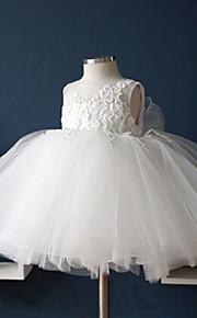 Vestido para Meninas das Flores - Baile Comprimento Médio Sem Mangas Tule / Algodão / Renda