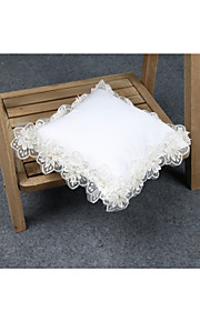 White Ribbon Wedding Ring Pillow with Lace and Flower