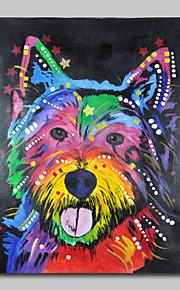 met de hand geschilderd olieverf op doek kunst aan de muur pop art schattige hond één paneel klaar te hangen