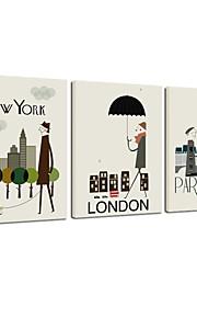 VISUAL STAR®Wall Decoration Art Print Poster London/New York/Paris Cartoon Decoration Picture Canvas set of 3