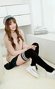 1Pairs Women's Retro Double Pole Kknee Twist Cotton Stockings
