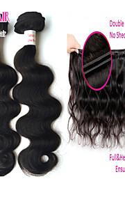 """4шт много 8 """"-30"""" перуанский волн девственница теле натуральный черный человеческие волосы плести пучки"""
