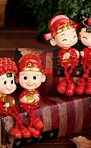 Pair of Chinese Style Double Happy Wedding Doll Boy and Girl Hanging Foot (Random Color)