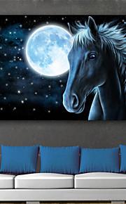 e-Home® sträckt ledde kanfastryck konst månen och hästen ledde blinkande optisk fiber print