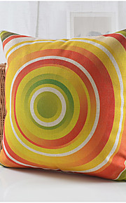 Modern Colorful Circles Pattern Cotton/Linen Decorative Pillow Cover