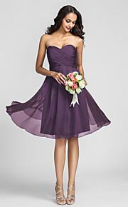 Knee-length Chiffon Bridesmaid Dress-Plus Size / Petite A-line Sweetheart