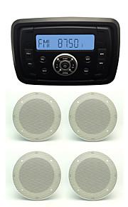 Waterproof Marine Radio Stereo ATV UTV Audio Receiver+2 Pairs 4''White Waterproof Speakers