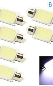 10x 36mm 3W COB LED 200lm 6000K Cold White Light Dome Festoon Reading Bulb Lamp for Car (DC 12V)