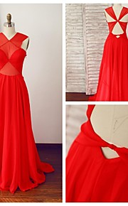 Robe - Couleur Rubis Soirée formelle A-line Col en V Longueur ras du sol Mousseline polyester