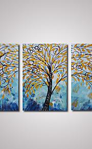 3 paneler abstrakt tre med gule blader oljemaleri på cavnas klar til å henge