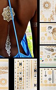 6pcs Mixed Body Art Temporary Tattoos Gold Silver Flash Metallic Necklace Sticker Women Jewelry Waterproof