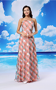 Formal Evening Dress - Candy Pink A-line Strapless Floor-length Organza/Satin