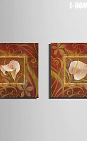 e-home® strukket lerret kunst hvite blomster dekormaling sett 2