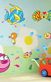 아름다운 열대 물고기 어린이 방 평면 벽 스티커 벽 장식, PVC 이동식