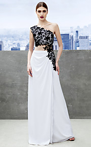 Formal Evening Dress - White Sheath/Column One Shoulder Sweep/Brush Train Jersey