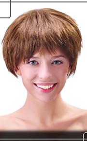 mousserande människohår Capless peruker jungfruligt remy kort rakt mono topp hår peruk