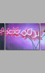 håndmalte oljemaleri på lerret veggen kunst abstrakte blomster rosa blomst tre-panel klar til å henge