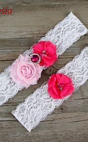 Stretch Satin / Lace Wedding Fashion Garter with Flower /Rhinestone