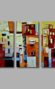 håndmalede olie maleri på lærred væg kunst moderne abstrakt bygning city hjem deco tre panel klar til at hænge