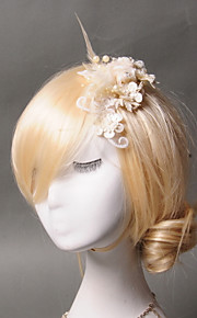 Women's Feather / Tulle / Imitation Pearl Headpiece - Wedding / Special Occasion / Casual Hair Clip 1 Piece