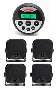 waterdichte marifoon stereo atv utv audio-ontvanger + 2 paar 3,5 inch outdoor waterdichte heavy duty marine doos speakers
