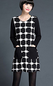 Women's Patchwork White / Black Dress , Cute / Plus Sizes Round Neck Long Sleeve