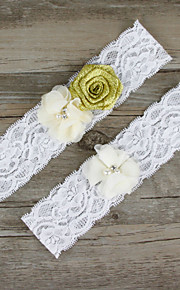 Stretch Satin / Lace Wedding Bling-Bling Garter with Flower / Imitation Pearl