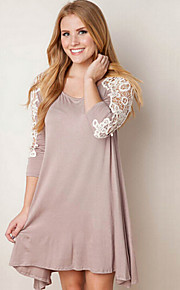 Women's Patchwork Camel / Gray Dress , Casual / Cute Round Neck Long Sleeve